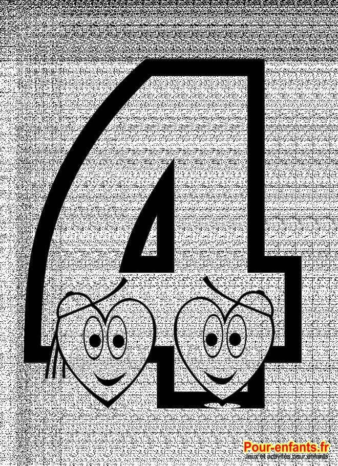 Coloriage et dessins gratuits Compter Chiffre 4 à imprimer