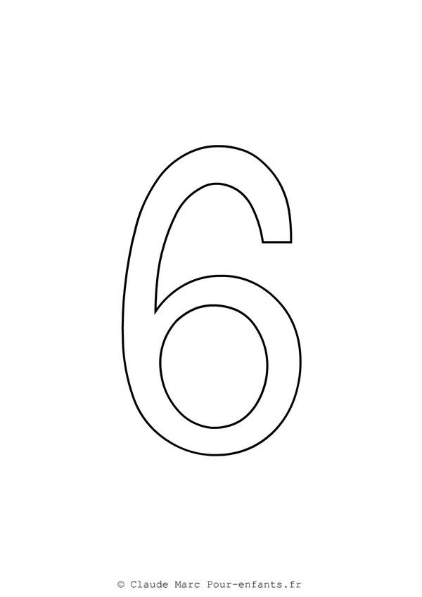 Coloriage Gros Chiffre 6 dessin gratuit à imprimer