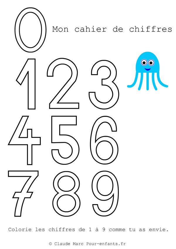 Coloriage mon cahier de chiffres dessin gratuit imprimer - Chiffre a imprimer gratuit ...
