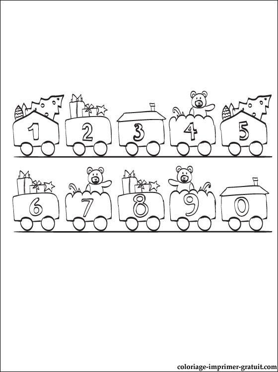 Coloriage et dessins gratuits Wagons et Chiffres à imprimer