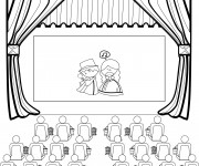 Coloriage et dessins gratuit Salle de Cinéma stylisé à imprimer