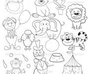 Coloriage et dessins gratuit Les Animaux de Cirque couleur à imprimer