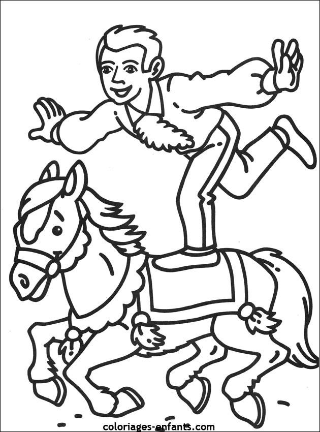Coloriage et dessins gratuits Acrobate de Cirque sur Le Cheval à imprimer
