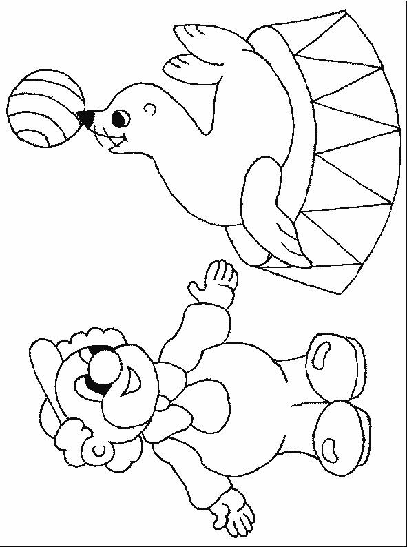 Coloriage et dessins gratuits Acrobate et Phoque de Cirque à imprimer