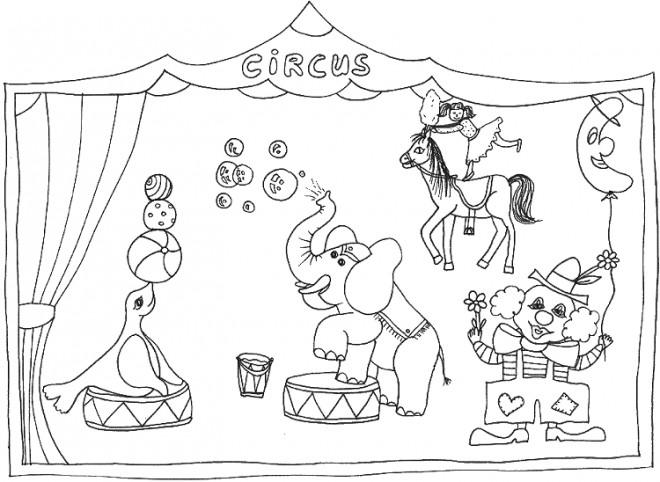 Coloriage Animaux Du Cirque Dessin Gratuit à Imprimer