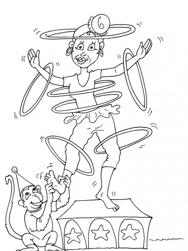 Coloriage et dessins gratuits Cirque Acrobate comique à imprimer