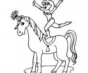 Coloriage et dessins gratuit Cirque acrobate sur Le Cheval à imprimer