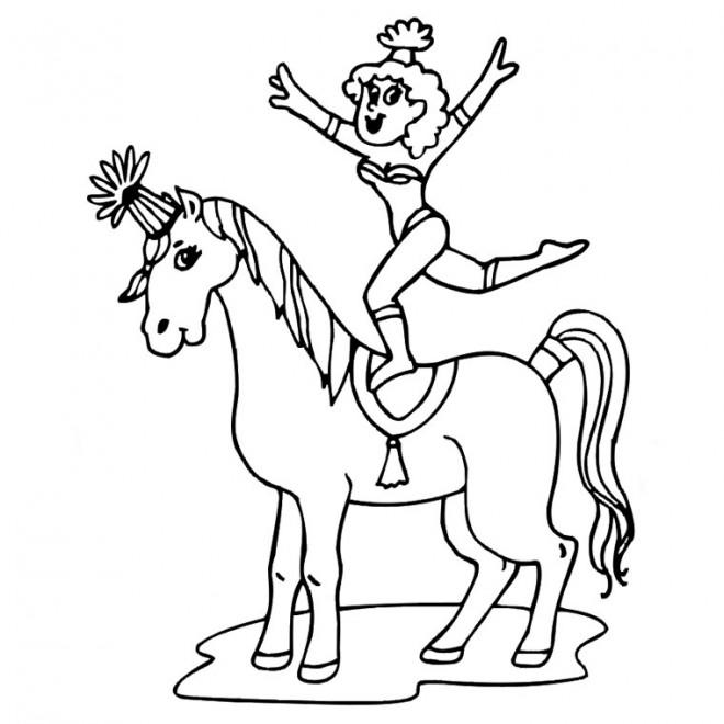 Coloriage et dessins gratuits Cirque acrobate sur Le Cheval à imprimer