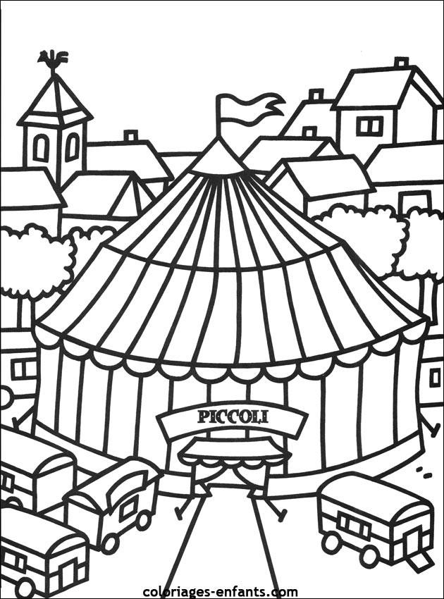 Coloriage et dessins gratuits Cirque Chapiteau à imprimer