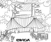 Coloriage Cirque Chapiteau dessin animé