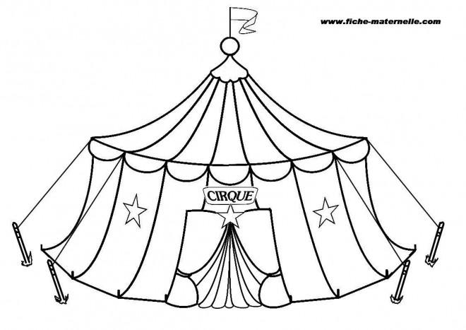 Coloriage et dessins gratuits Cirque Chapiteau maternelle à imprimer