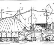 Coloriage et dessins gratuit Cirque Façade  de Chapiteau à imprimer