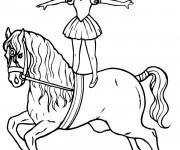 Coloriage Cirque Scène de Cheval