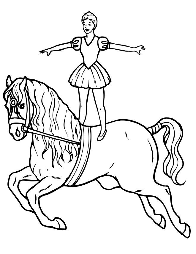 Coloriage et dessins gratuits Cirque Scène de Cheval à imprimer