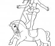 Coloriage et dessins gratuit Cirque Spectacle de Cheval à imprimer