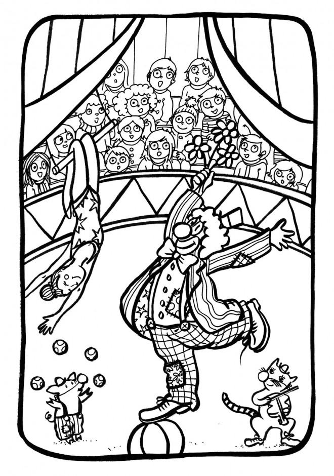 Coloriage et dessins gratuits Cirque Téléspectateurs amusés à imprimer