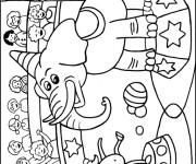 Coloriage Éléphant de Cirque amuse La Foule