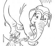Coloriage Éléphant de Cirque avec La Fille