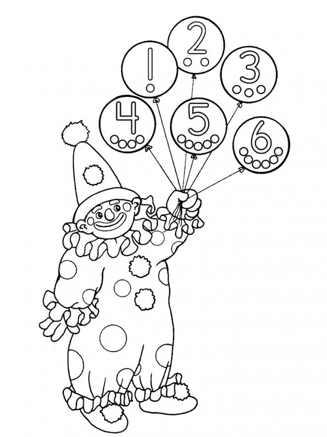 Coloriage et dessins gratuits Le Clown porte des Ballons à imprimer