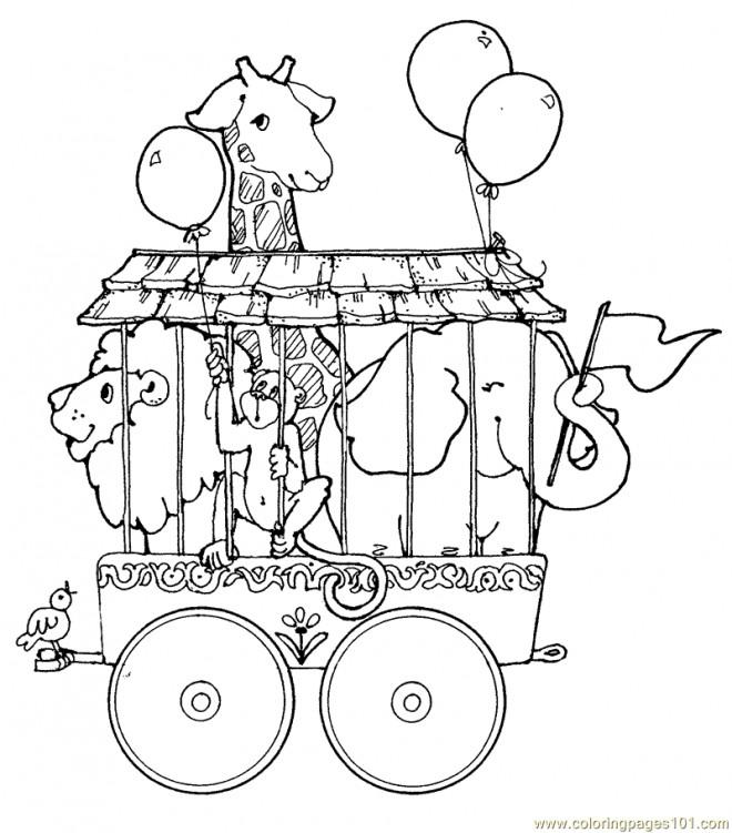 Coloriage et dessins gratuits Les Animaux de Cirque dans Leur Cage à imprimer