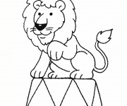 Coloriage Lion de Cirque