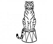 Coloriage Tigre de Cirque debout