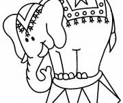 Coloriage et dessins gratuit Un Éléphant du Cirque à imprimer