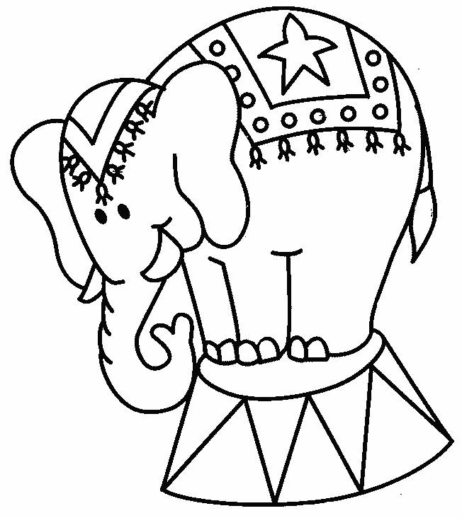 Coloriage Un Éléphant du Cirque dessin gratuit à imprimer