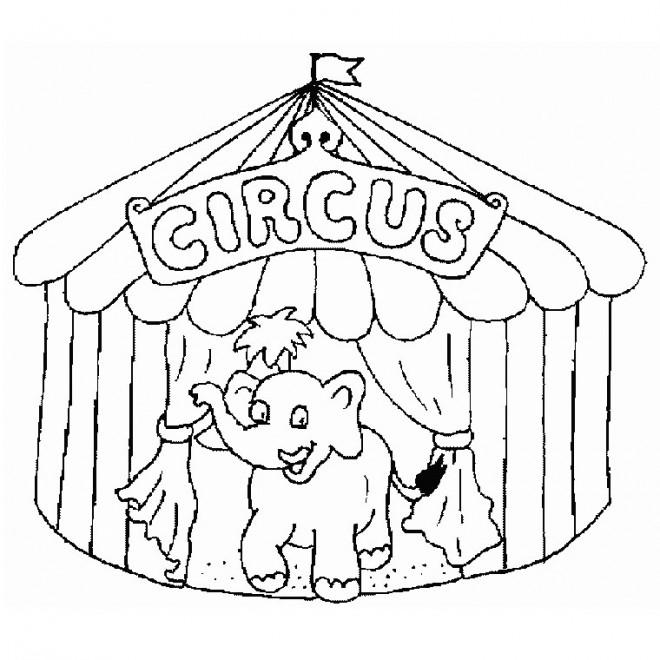 Coloriage un l phant qui sort de chapiteau du cirque - Coloriage chapiteau ...