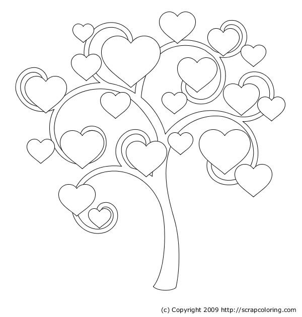 Coloriage et dessins gratuits Arbre pleine de coeurs à imprimer