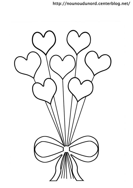 Coloriage ballons en formes de coeurs dessin gratuit imprimer - Coloriage fleur tres jolie ...