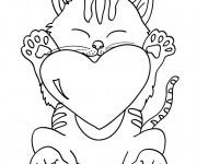 Coloriage Chat porte un gros coeur