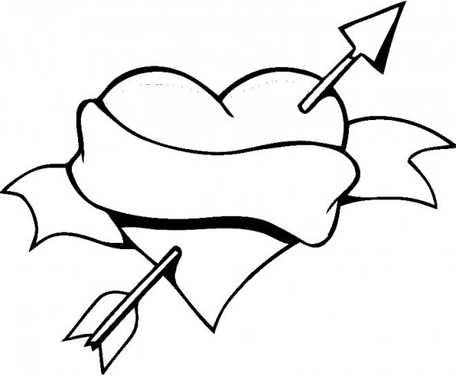 Coloriage Coeur Amour Gratuit.Coloriage Coeur D Amour Et Fleche Dessin Gratuit A Imprimer