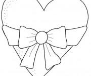 Coloriage Coeur décoré avec Noeud