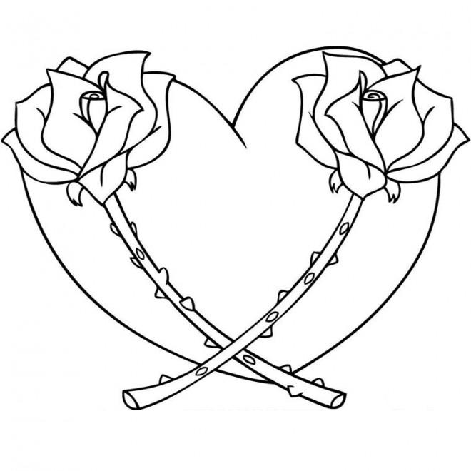 Coloriage coeur et fleurs dessin gratuit imprimer - Images avec des coeurs ...