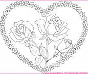 Coloriage Coeur et Fleurs au centre