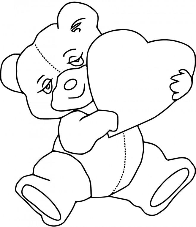 Coloriage et dessins gratuits L'ours amoureux à imprimer