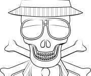 Coloriage Crâne de mort portant un chapeau