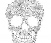 Coloriage Crâne décorée avec des fleurs