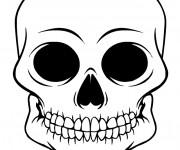 Coloriage Crâne en noir et blanc