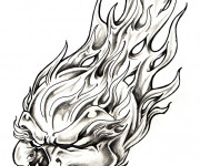 Coloriage Crâne et Flamme
