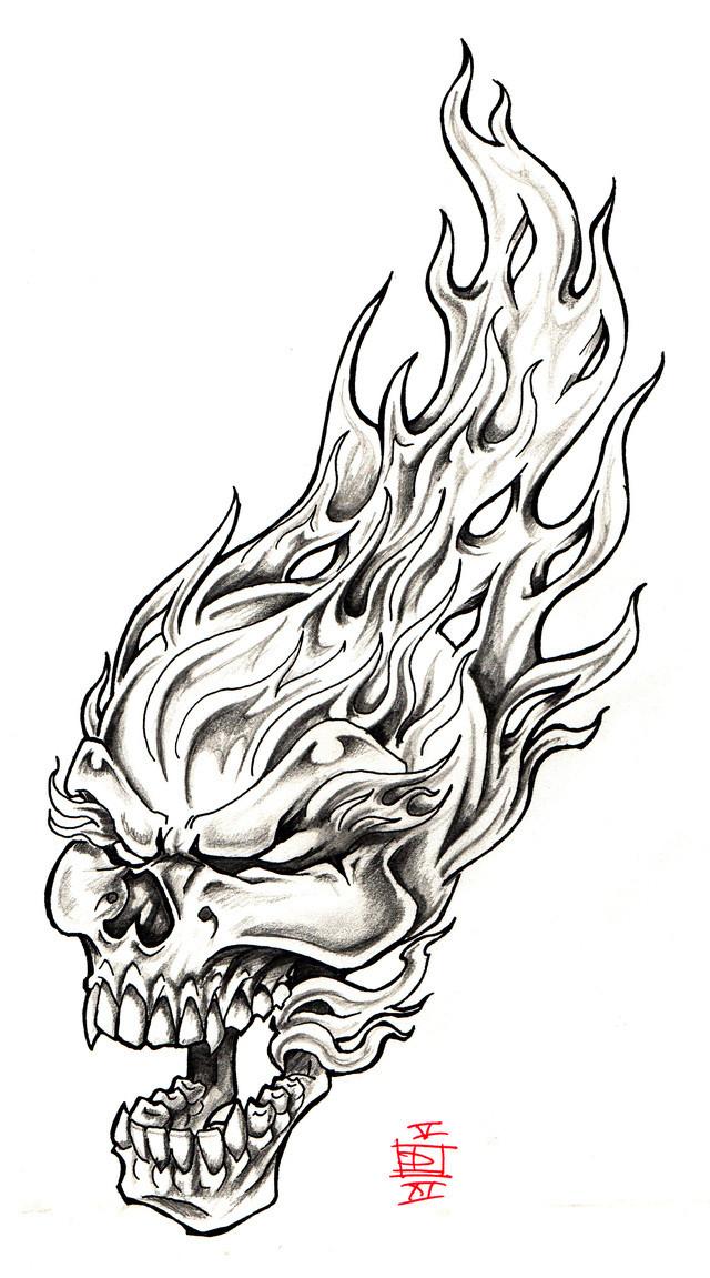 Coloriage Crâne Et Flamme Dessin Gratuit à Imprimer