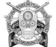 Coloriage Décoration Crâne et Pistolet