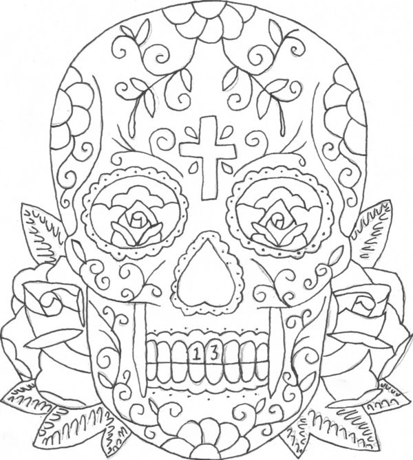 Coloriage Tete De Mort Mexicaine A Telecharger