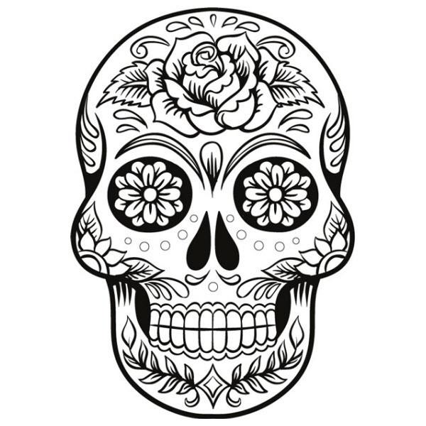 Coloriage Tête De Mort Mexicaine Pour Fille
