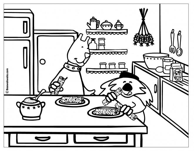 Coloriage et dessins gratuits Cuisine Dessin Animé à imprimer