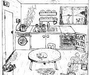 Coloriage Cuisine dessin simple