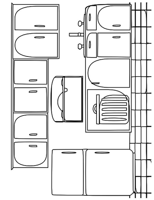 Coloriage et dessins gratuits Cuisine endroit pour préparer les repas à imprimer