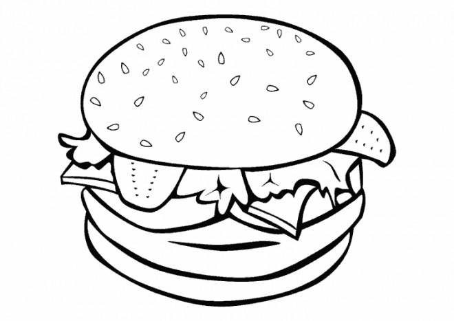 Coloriage Cuisine Hamburger Dessin Gratuit A Imprimer