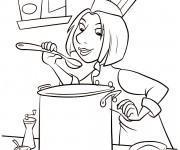 Coloriage Cuisinier à la cuisine
